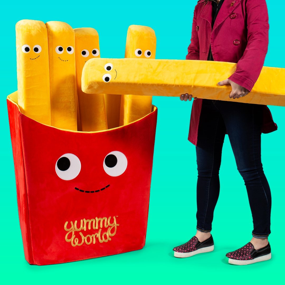 100% Polyester - Pre-Order: Giant 4 Foot Yummy World French Fries Plush