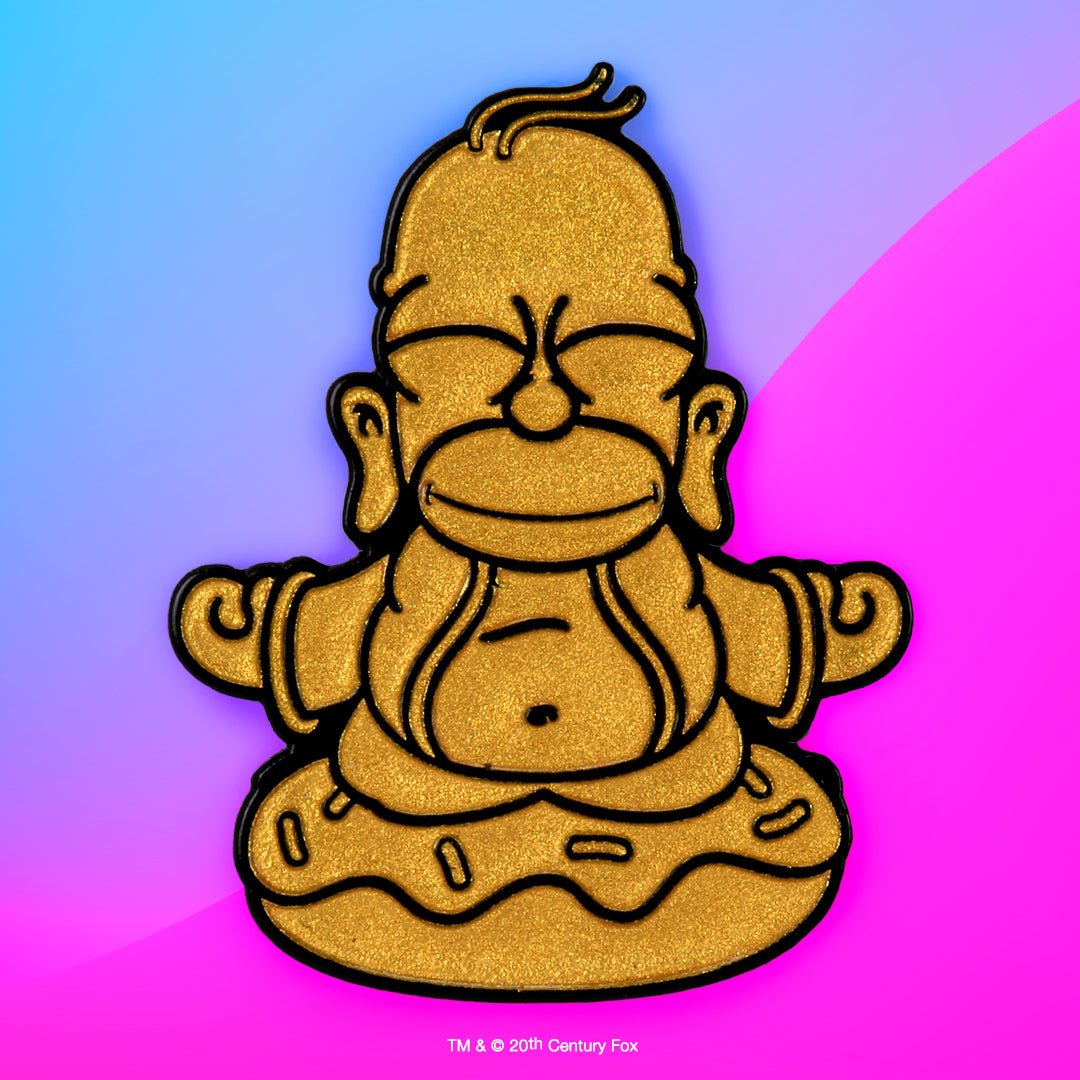 "The Simpsons Golden Homer Buddha 1.5"" Enamel Pin - Kidrobot - Designer Art Toys"