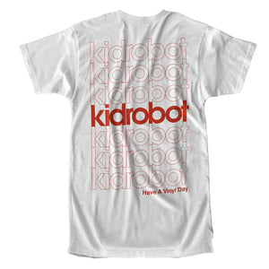 Limited Edition Kidrobot Have a Vinyl Day White Pocket T-Shirt (S-XXL) - Kidrobot