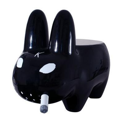 Art Giant Black Smorkin' Labbit Stool by Frank Kozik - Kidrobot - Designer Art Toys