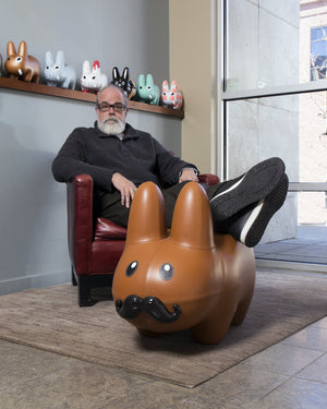 Leather Happy Labbit Stool by Frank Kozik - Kidrobot - Designer Art Toys