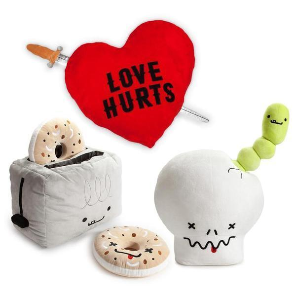 BFFs Love Hurts Bones the Skull & William the Worm Plush - Kidrobot - Designer Art Toys