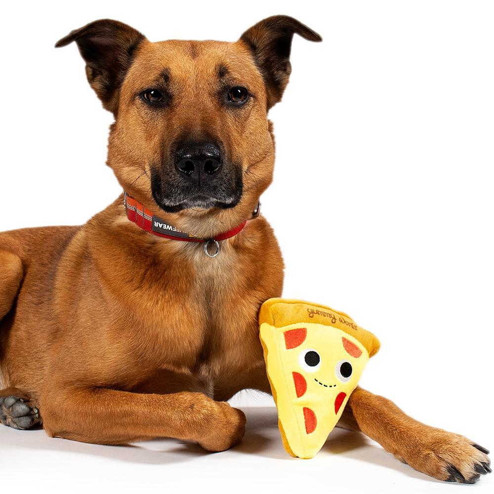 Polyester - Yummy World Pets: Cheesy Pie Pizza Plush Squeaky Dog Toy
