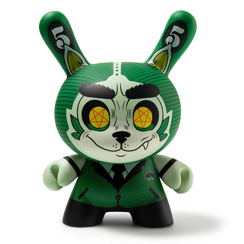 "Cash Wolf Green 5"" Dunny Art Figure by Josh Divine - Kidrobot"