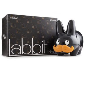 "Happy Stache Labbit 10"" Vinyl Art Figure by Frank Kozik - Black Edition - Kidrobot - Designer Art Toys"
