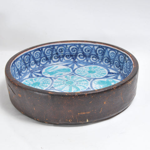 Italian Leather Covered Bowl