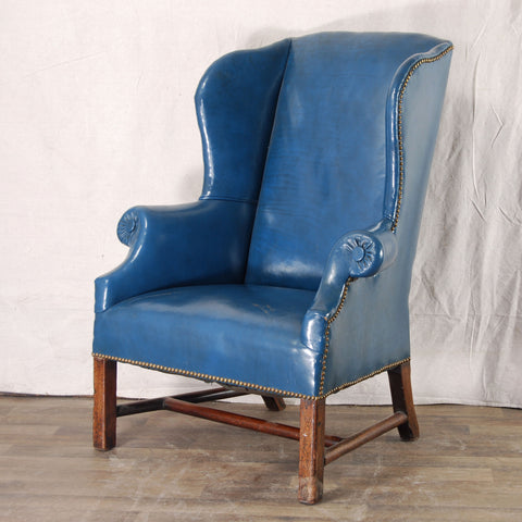 Blue Leather Wing Chair