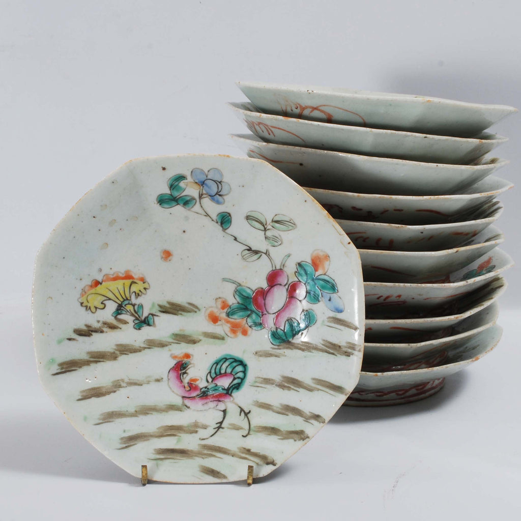 Straits Ware Bowls & 11 Chinese Porcelain Straits Ware Bowls Polychrome Chicken Pattern ...