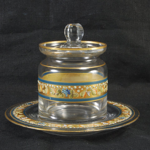 Enameled Glass Condiment Container
