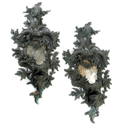 Pr Bronze Sconces