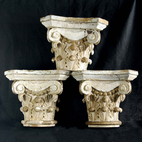3 Carved Wood Capitals