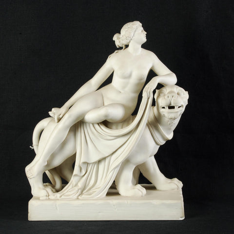 Neoclassical Parian Woman On Leopard