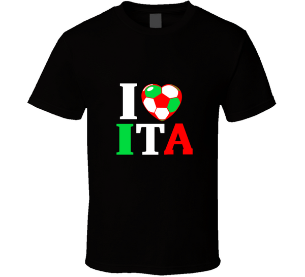 I Heart ITA Italy World Cup 2014 Soccer Country Flag  T Shirt - Tees Happen