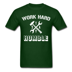 Work Hard Stay Humble Men's Construction Worker Mechanic T-Shirt - forest green