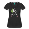 Be Mine Cute Valentine's Day Heart Love Women's Premium T-Shirt - black