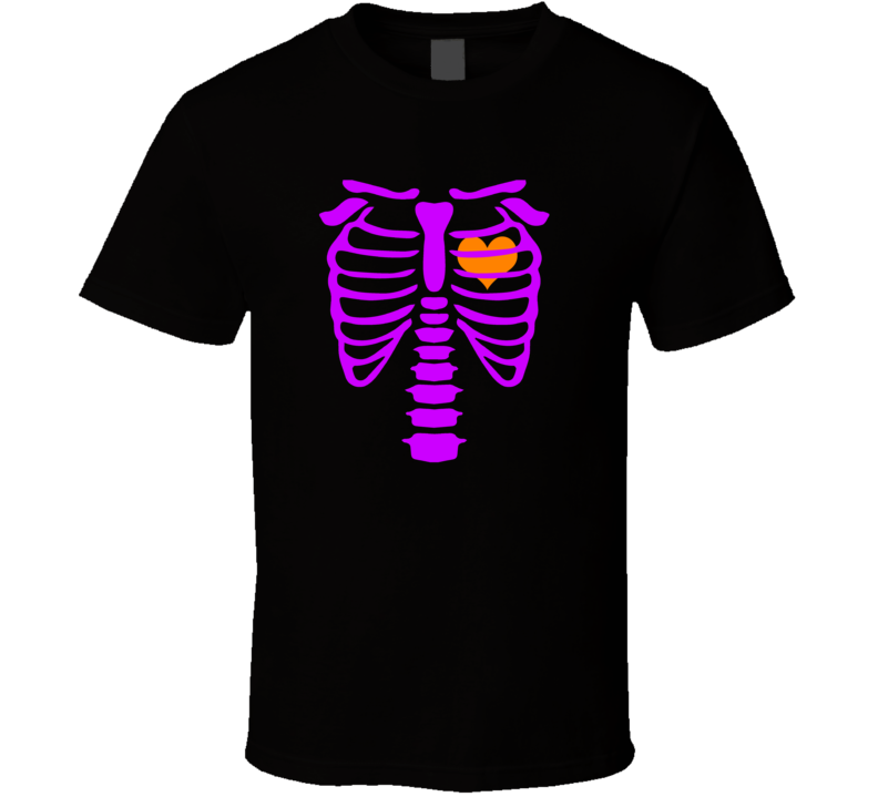 Skeleton and Beating Heart Halloween Spooky Costume T Shirt - Tees Happen