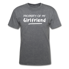 Property of My Girlfriend Funny Couple Relationship T-Shirt - mineral charcoal gray