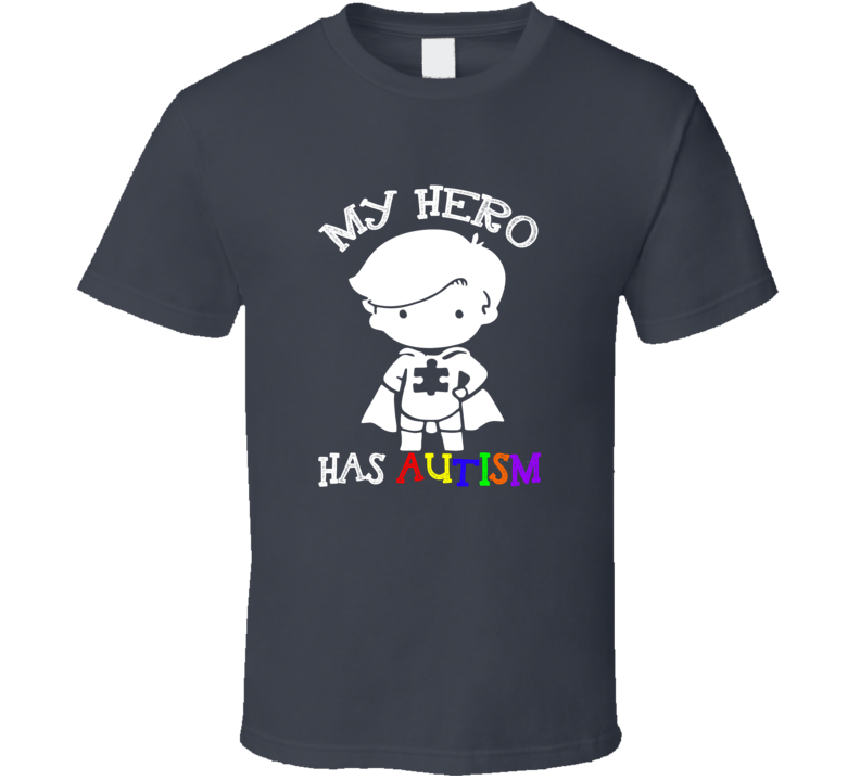 My Hero Has Autism Cute Boys Autism Awareness Cause Puzzle T Shirt - Tees Happen