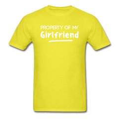 Property of My Girlfriend Funny Couple Relationship T-Shirt - yellow
