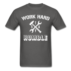 Work Hard Stay Humble Men's Construction Worker Mechanic T-Shirt - charcoal