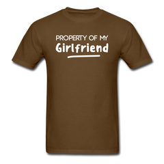 Property of My Girlfriend Funny Couple Relationship T-Shirt - brown