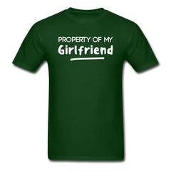 Property of My Girlfriend Funny Couple Relationship T-Shirt - forest green