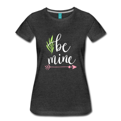 Be Mine Cute Valentine's Day Heart Love Women's Premium T-Shirt - charcoal gray