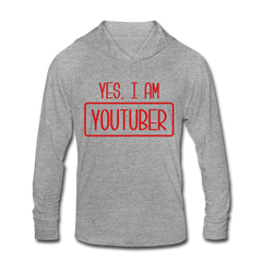 Yes, I Am Youtuber Funny Video Blog Vlog Unisex Tri-Blend Hoodie Shirt - heather gray