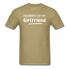 Property of My Girlfriend Funny Couple Relationship T-Shirt - khaki