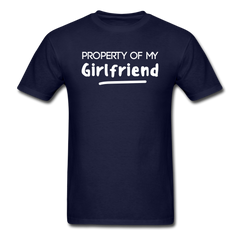 Property of My Girlfriend Funny Couple Relationship T-Shirt - navy