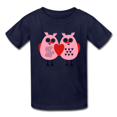 Cute Love Owls Valentine's Day Heart Kids' T-Shirt - navy