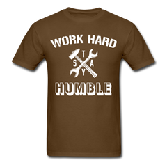 Work Hard Stay Humble Men's Construction Worker Mechanic T-Shirt - brown