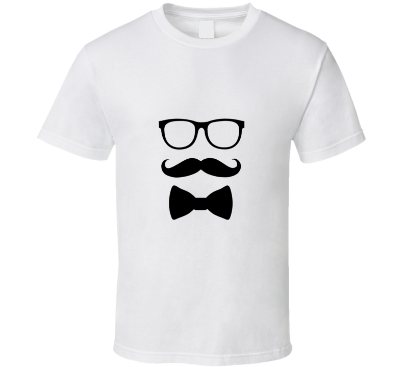 Hipster Glasses Mustache Bow Tie  T Shirt - Tees Happen