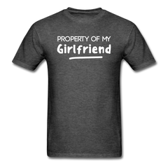 Property of My Girlfriend Funny Couple Relationship T-Shirt - heather black
