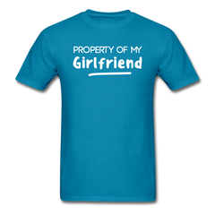 Property of My Girlfriend Funny Couple Relationship T-Shirt - turquoise
