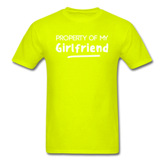 Property of My Girlfriend Funny Couple Relationship T-Shirt - safety green