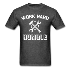 Work Hard Stay Humble Men's Construction Worker Mechanic T-Shirt - heather black