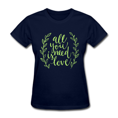 All You Need is Love Cute Valentine's Day Women's T-Shirt - navy