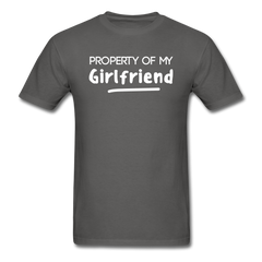 Property of My Girlfriend Funny Couple Relationship T-Shirt - charcoal