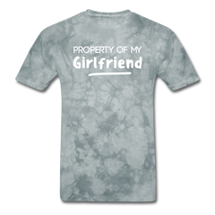Property of My Girlfriend Funny Couple Relationship T-Shirt - grey tie dye