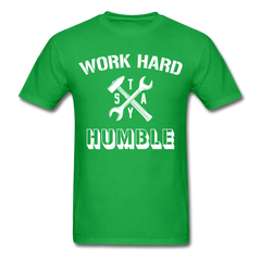Work Hard Stay Humble Men's Construction Worker Mechanic T-Shirt - bright green