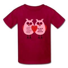 Cute Love Owls Valentine's Day Heart Kids' T-Shirt - dark red