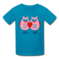 Cute Love Owls Valentine's Day Heart Kids' T-Shirt - turquoise