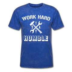 Work Hard Stay Humble Men's Construction Worker Mechanic T-Shirt - mineral royal
