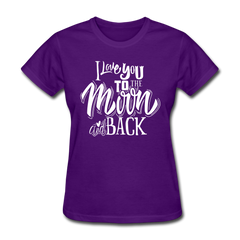 I Love You to the Moon and Back Cute Valentine's Day Women's T-Shirt - purple