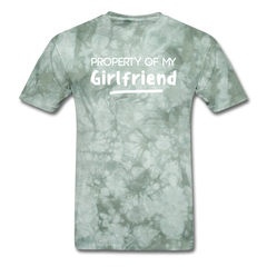 Property of My Girlfriend Funny Couple Relationship T-Shirt - military green tie dye