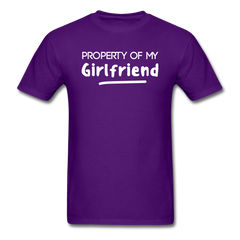 Property of My Girlfriend Funny Couple Relationship T-Shirt - purple
