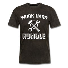 Work Hard Stay Humble Men's Construction Worker Mechanic T-Shirt - mineral black
