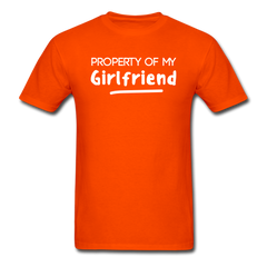 Property of My Girlfriend Funny Couple Relationship T-Shirt - orange