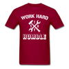 Work Hard Stay Humble Men's Construction Worker Mechanic T-Shirt - dark red